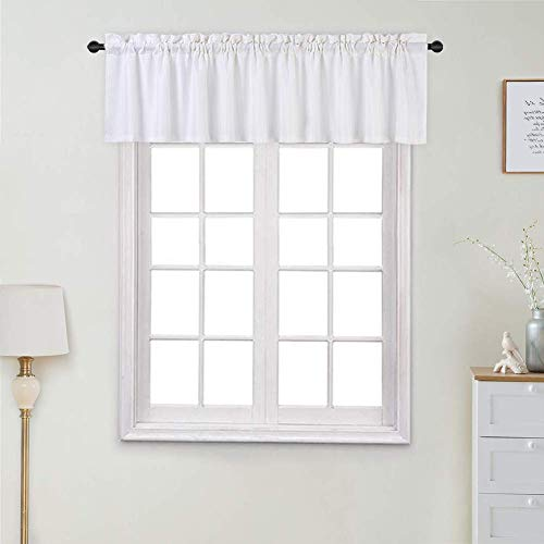 Lintimes Waffle Weave Textured White Valance Curtain, Rod Pocket Short Curtains Half Window Curtains Valance Curtains for Kitchen, Bathroom, Living Room (60'*15', White, One Panel)