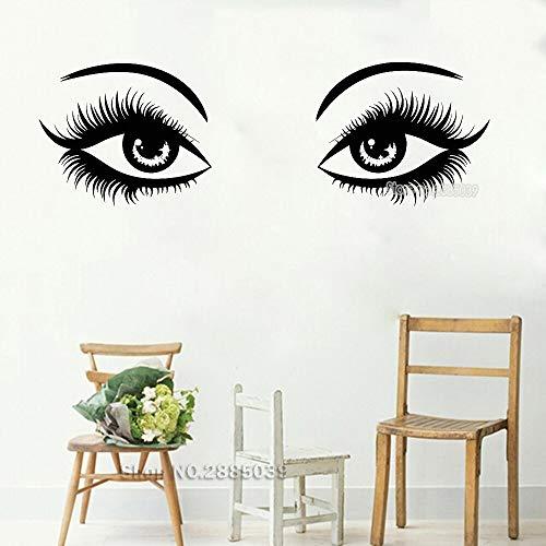 Zdklfm69 Pegatinas de Pared Adhesivos Pared Habitación Moderna para niña, Maquillaje para Ojos, Chica Sexy, Mujer, Tienda de SPA, salón de Belleza, Vinilo extraíble 174x57cm