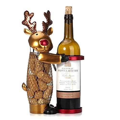 BANNESE Botelleros De Vino Creativo Navidad Elk Estantería De Botellas De Vino Esculturas Decorativo Estante De Vino Regalo Artesanal, para Sala De Estar De Oficina En Casa
