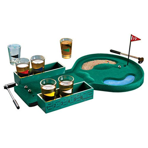 Dartphew Table Golf Putting Shot Glass Drinking Game Set - Funny 19 Hole Mini Golf Drinking Shot Glass Game Putter - Best for Adult Party, Novelty Gift