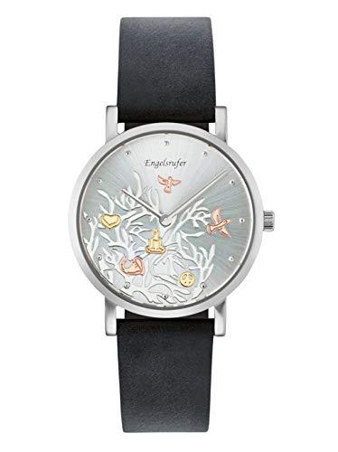 Engelsrufer Damen Analog Quarz Uhr mit Echtes Leder Armband ERWA-TREE-01BL-LS