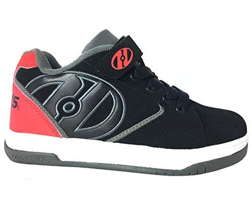 Heelys Propel KR | Unisex-Schuhe mit Rädern für Jungen und Mädchen | (33 EU, Schwarz/Rot/Grau)