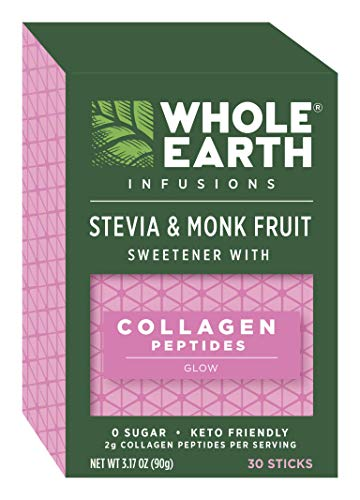 Whole Earth Sweetener Infusions Stevia and Monk Fruit Sweetener Collagen Peptides 317 Ounce Pack of 1