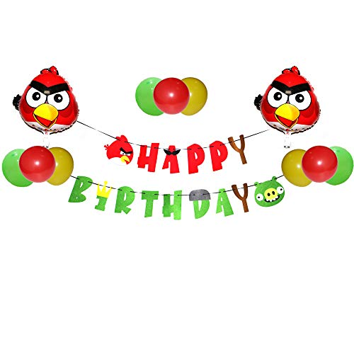 Angry Birds Balloons Banner Set Party Pack Birthday Banner for Angry Birds Game Theme Party Supplies Decorations Kit