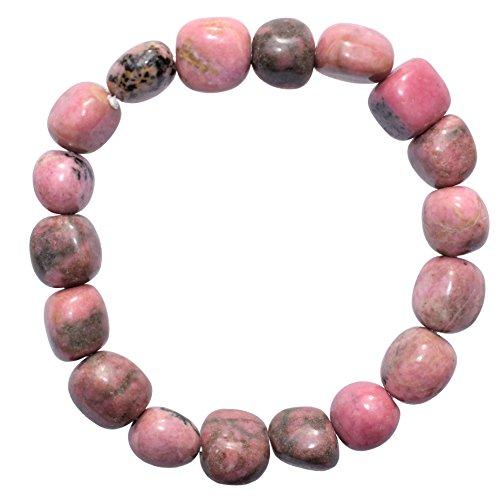 """CHARGED 6"""" Rhodonite Crystal Bracelet Tumble Polished Stretchy (Empowering Grace & Raising Kundalini) HEALING ENERGY REIKI by ZENERGY GEMS"""
