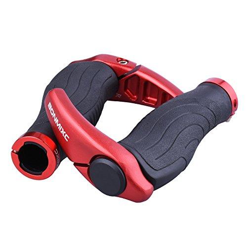 Aderência ergonômica de bicicleta para guidão da BONMIXC para absorção de choque com chifres antiderrapantes para bicicleta com extremidades de barra de liga de alumínio, anéis de trava, Vermelho