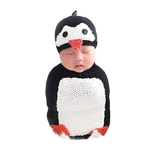 Newborn Photography Props Baby Photo Shoot Outfits Infant Boy Girl Crochet Unisex Penguin Sleeping Bag Hat Set Black