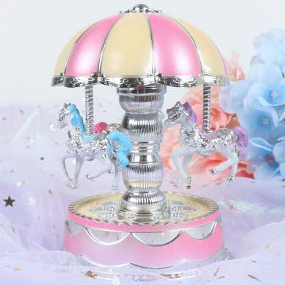 Angoo Beauty LED Luminous Carousel Music Box, Luxury Color Changing Rotating 3-Horse Carousel H Musical Boxes & Figurines (Pink)