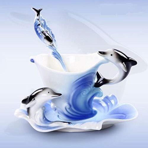 mytxfh Kaffeetassen 150Ml Farbige Emaille Kaffeetassen Porzellan Anzug Delfine Europäische Tassen Eine Tasse Kaffee + Scheibe + Kugel Für Freund Vorhanden