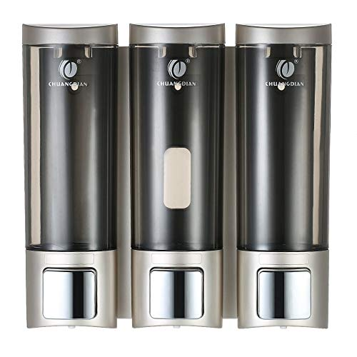 Decdeal CHUANGDIAN Manual Soap Dispensers WallMounted Three Chamber Shampoo Box 200mlx3