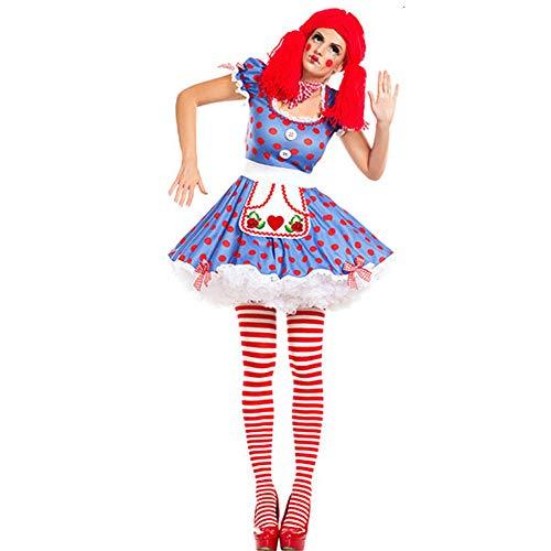 Womens Cosplay Prom kostuum, Volwassene Sexy Circus Clown Slanke Korte Rok, Feestspel Halloween Jurk