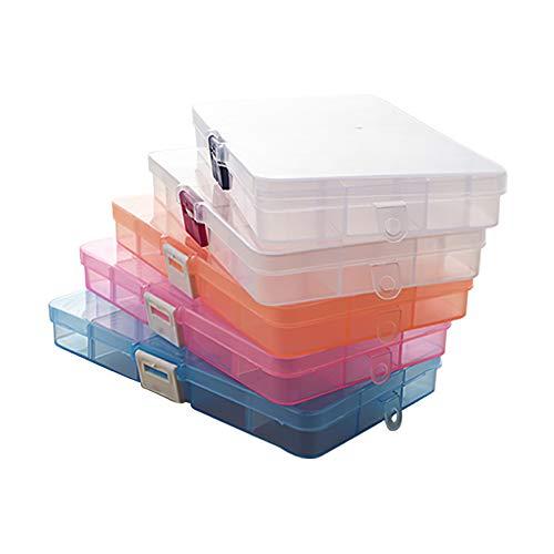 Gcroet Organizador de Joyas de plástico Caja de 15 Compartimiento con Pendiente Recipiente Transparente de Almacenamiento del Grano (Coloridos) Divisor Ajustable 5pcs