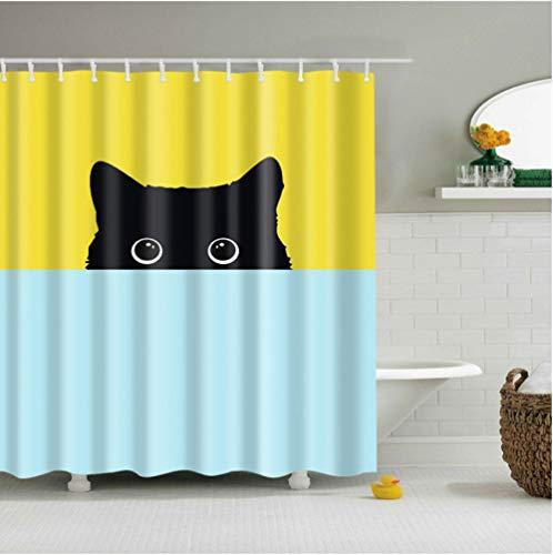 lsscj Malerei gelb-Blauer Hintergrund Schwarze Karikaturkatze Voyeur-Tierpolyester-Duschvorhang-Qualitäts-waschbarer Dekor-Bunte Badezimmer-Dusche-180 * 180cm