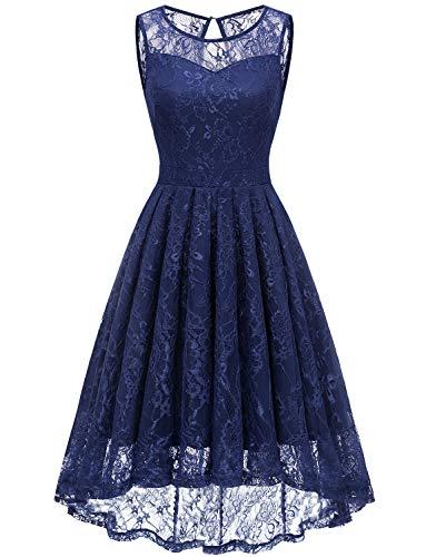 Gardenwed Damen Kleid Retro Ärmellos Kurz Brautjungfern Kleid Spitzenkleid Abendkleider CocktailKleid Partykleid Navy 3XL