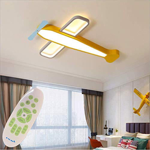 Deckenleuchte Für Kinder Kinder Cartoon Deckenleuchte Gelb Flugzeuge Kronleuchtern Kinderzimmer Schlafzimmer Leuchten Jungen Raumbeleuchtung Cartoon Creative LED Lampen,54cm