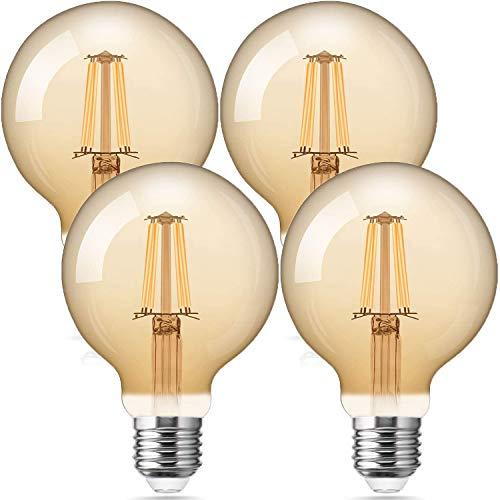 Bombilla Edison vintage G80 Globe E27 Edison bombilla LED de 6W 60W...