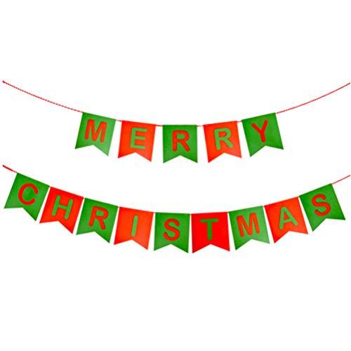 VORCOOL Les Lignes Doubles de Joyeux Noël de Tissu Non-tissé souhaitent des Signes pour la décoration de Partie