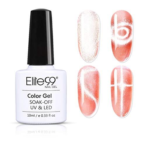 Elite99 Smalto Semipermanente per Unghie in Gel UV LED,Cristallo Luce Della Neve Cat Eye Effetto Unghie Soak Off Starter Primer in Gel UV LED Salon Manicure 10ML - 41008