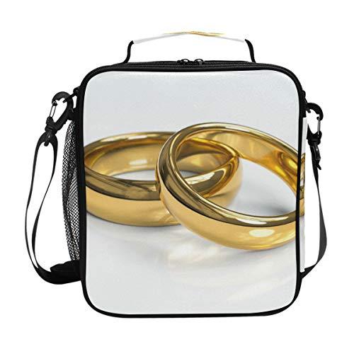 Montoj Goldene Eheringe Thermo-Kühltasche Lunchtasche Wasserdichte Kühltasche