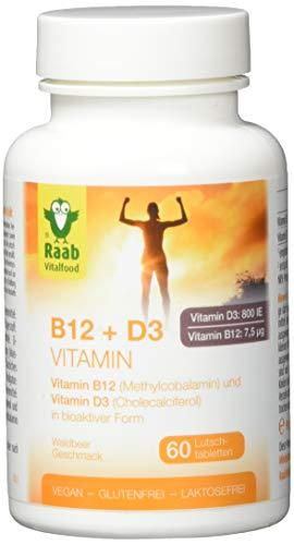 Raab Vitalfood Vitamin B12 + Vitamin D3 in bioaktiver Form, 60 Lutsch-Tabletten, vegan, glutenfrei, nur mit Xylit gesüßt, Waldbeer-Geschmack, 1er Pack(1 x 90 grams)