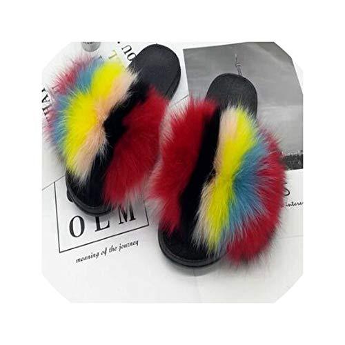 2019 Real Fur Slippers Slides Casual Shoes Fluffy Flip Flops Furry Women Sandals,D,9.5
