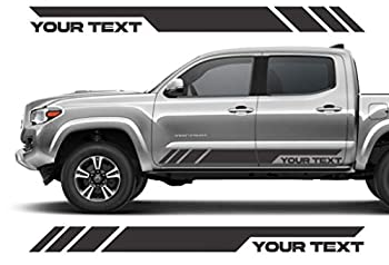 Custom Text Decal Sticker for Pickup Side Door fits TRD Tacoma Tundra or Any Toyota Truck Pair Set of 2 Black Matte