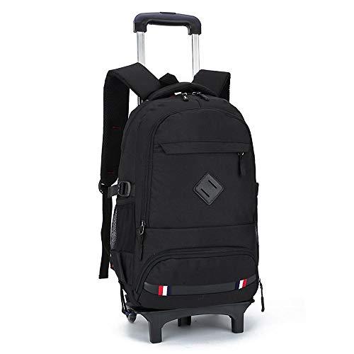 QWEIAS Rolling Backpack With Wheels Trolley School Bag Kids School Backpack Books Bag Waterproof Travel Backpack Detachable Trolley Backpack Cabin Luggage Bag black4-2wheels