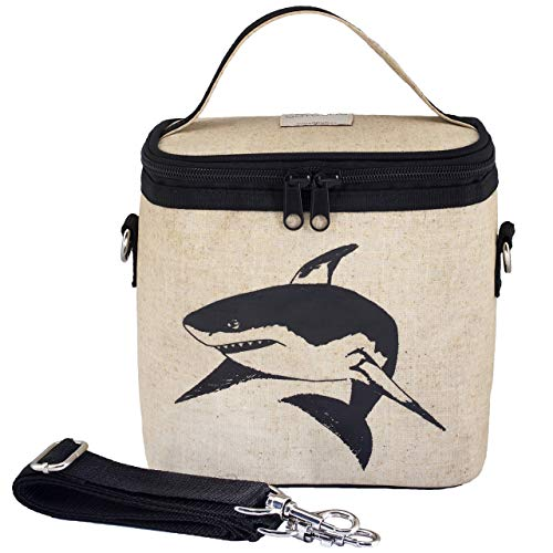 SoYoung Small Cooler Bag - Lunch - Raw Linen, Eco-Friendly, Retro-Inspired, Easy to Clean (Black Shark)