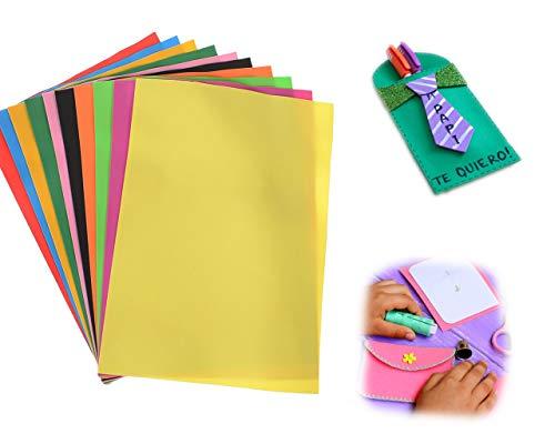 Papel de Goma Eva, 10 colores,10 láminas en tamaño A4, Papel Decorat
