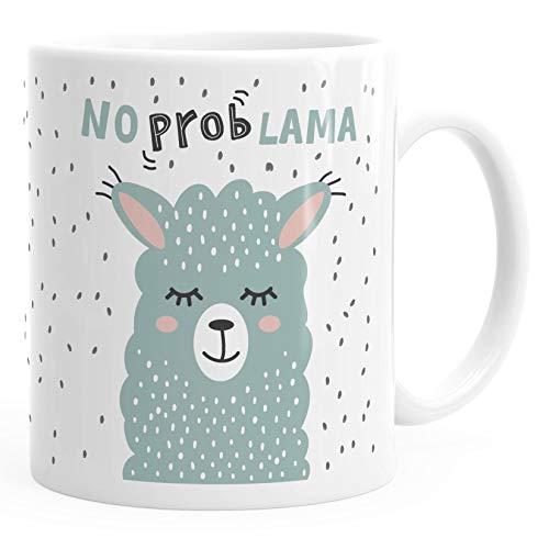 MoonWorks® Kaffee-Tasse mit Spruch No Prob Lama Motiv lustig Bürotasse lustige Kaffeebecher weiß Keramik-Tasse