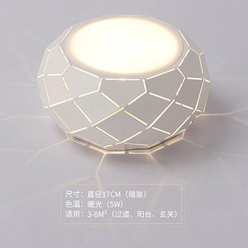 XMINL Minimalista creativo Hyun Off walking closets luz de techo LED Lámparas Balcón corredor de entrada,311-5W 17cm Luz cálida a ras