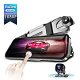 Metal Appearance 10 Mirror Dash Cam 10 Inch Touch Screen IPS Full HD 1080P Rear View Mirror car Camera car dvr Front and Rear Dual Lens Backup Camera with G Sensor 24 Hours Parking Monitor …