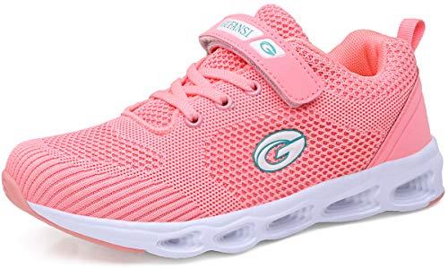 GUFANSI Hallenschuhe Mädchen Kinder Laufschuhe Turnschuhe Outdoor Sportschuhe Klettverschluss für Unisex-Kinder Sneaker(Pink1,33EU)