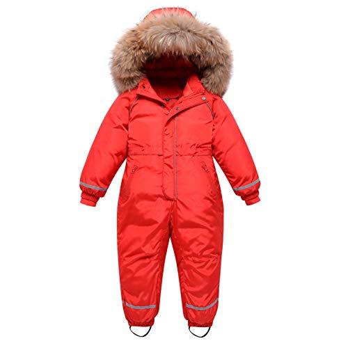 Traje de Nieve para Niños Niñas, Pluma Mono con Capucha Impermeable Chaqueta Manga Larga Abrigo de Invierno Ropa de Esquí 4-5 Años