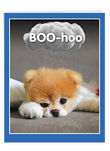 Boo-Hoo - Cute Miss You Greeting Card with Envelope (Big 8.5 x 11 Inch) - Adorable Pet Dog Boo, Thinking of You Card From All of Us - Stationery for Kids, Adults, Animal Lovers J6869MYG-US