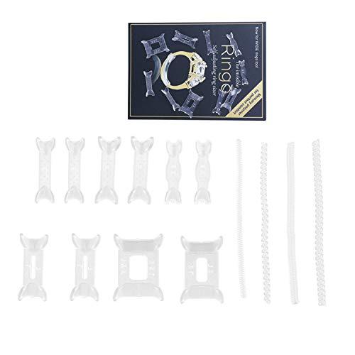 DesignerBox Ringgrößenversteller, Ringschutz, Abstandshalter-Clip, unsichtbare Spirale, Transparent, Resizer, Ringgrößenreduzierer für lose Ringe und breite Ringe, 14 Stück