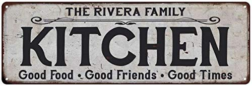 The Rivera Family Kitchen Personalized Chic Metal Sign Vintage Aluminum Metal Signs Tin Plaque Wall Art Poster for Garage Man Cave Beer Cafe Bar Pub Club Patio Home Decor 3