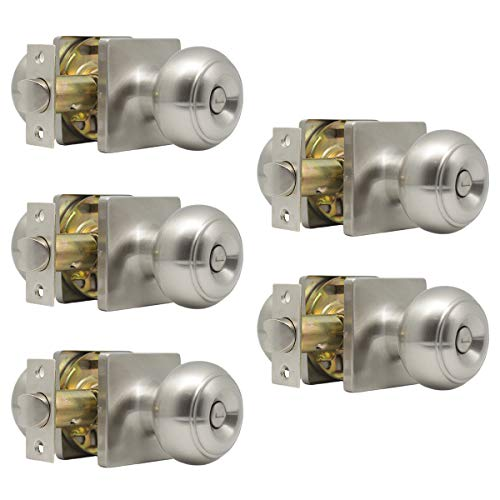 GOBEKOR Pack of 5 Interior Round Privacy Door Knobs for Bedroom Bathroom in Satin Nickel Keyless Door Locks Handles with Square Rosette,Thumb Button Inside