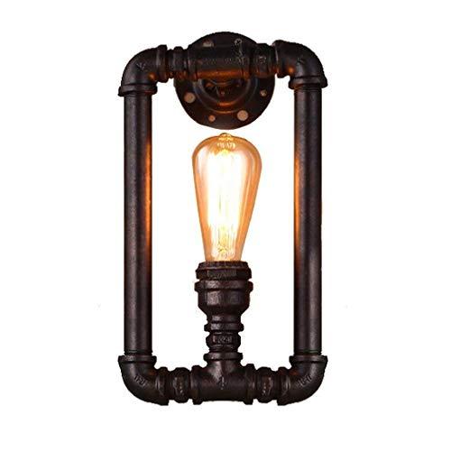 Rétro Pipe Steampunk Applique 18 * 35cm Industrielle Éclairage Applique Noir Vintage Design Fer D'eau Pipe Luminaire E27 Intérieur Décoratif Lampe pour Lampe de chevet Couloir Lampe Balcon Bar