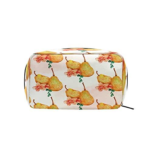 Bolsa de cosméticos para mujeres y niñas Trave bolsa de maquillaje neceser bolsa accesorios organizador retro acuarela fruta peras flor patrón