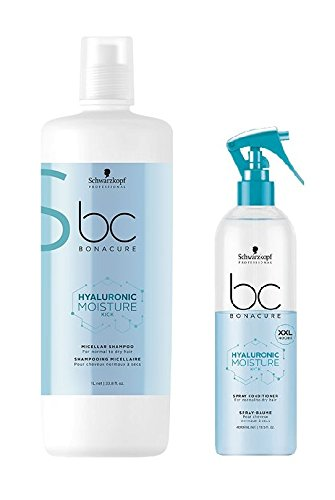 Schwarzkopf Bonacure Hyaluronic Moisture Kick Micellar Shampoo 1000ml and Spray Conditioner 400ml