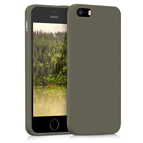 kwmobile Funda Compatible con Apple iPhone SE (1.Gen 2016) / 5 / 5S - Carcasa de TPU Silicona - Protector Trasero en Verde Oliva Mate