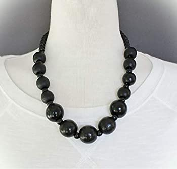 Black Wood Necklace Bead Big Chunky Bead 21-23  Long Necklace Beaded Wooden For Women