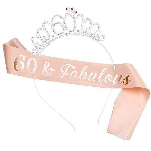 HOWAF Oro Rosa 60 cumpleaños Faja de satén cumpleaños Banda, 60 Diadema Tiara para Mujer 60 Años cumpleaños Fiesta de Decoración Accesorios Regalo Mujer
