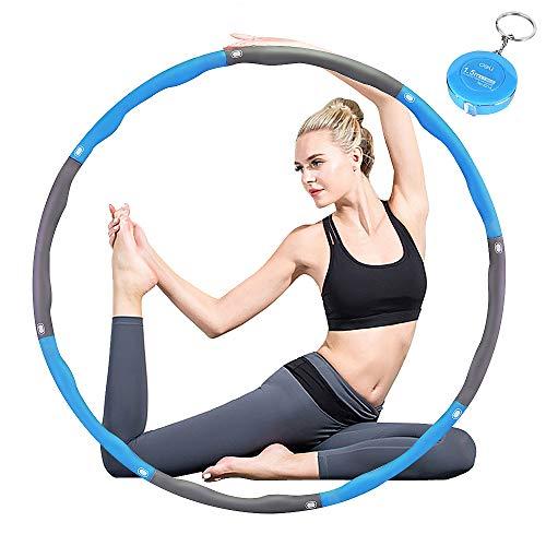 DUTISON Fitness Übung Gewichteter Hula Hoop, Reifen mit Schaumstoff Gewichten Einstellbar, Abnehmbares und Größenverstellbares Design für Fitness mit Mini Bandmaß