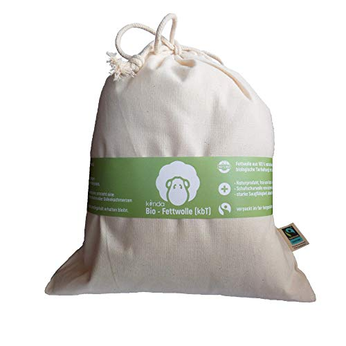 Bio vetwol (kbT) in fairtrade katoenen zak, natuurlijke huidverzorging met lanoline wolvet - 100% natuurproduct zonder chemicaliën, ideaal als voedings-inlegstuk en voor baby Po (100g)