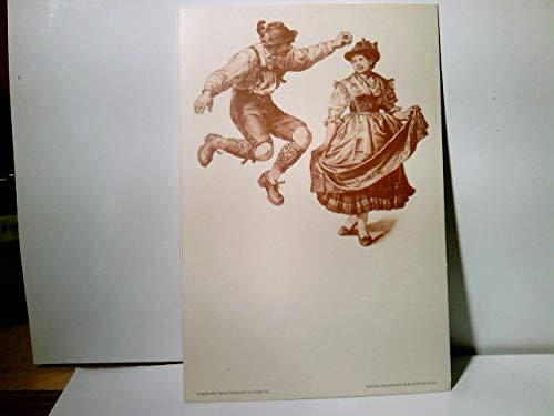Paul Knäbchen in Zöblitz. Künstler Litho / AK s/w. Verlag Gerlach & Schenk in Wien No 25. Tanzendes Paar in Tracht. ca 1900 ungel. Brauchtum, Trachten, Tanz, Kunst