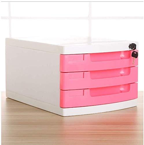 Archivadores Cerradura de datos del gabinete archivo de escritorio de múltiples capas del cajón de almacenamiento Box Office Supplies conveniente -29.5x39.4x21.8cm Clasificación de plástico PP Caja de