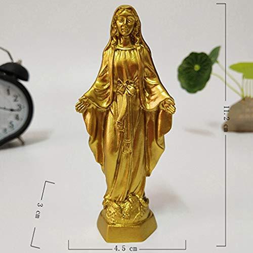 YOUZE Estatua de Oro de Jesús Madonna Figurines Estatuas de la Virgen María Decoraciones navideñas para el hogar Adornos, Oro