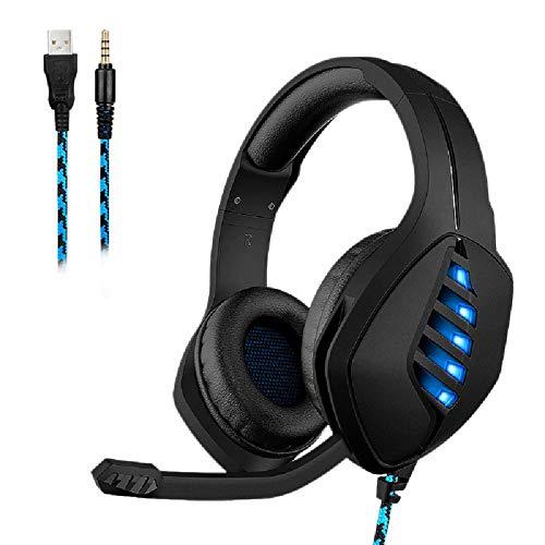 SUN JUNWEI Montado en la Cabeza Atado con Alambre Gaming Headset Stereo Surround Sound Gaming Auriculares Profesional llevó la luz Auricular con micrófono Control de Volumen,para PC PS4,Black Blue